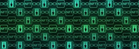 Nft Non Fungible Tokens Art And Collectables Banner Heading In Green, Blockchain Technology To Create Unique Digital Items For Crypto Art, Crypto Collectibles And Crypto Gaming.